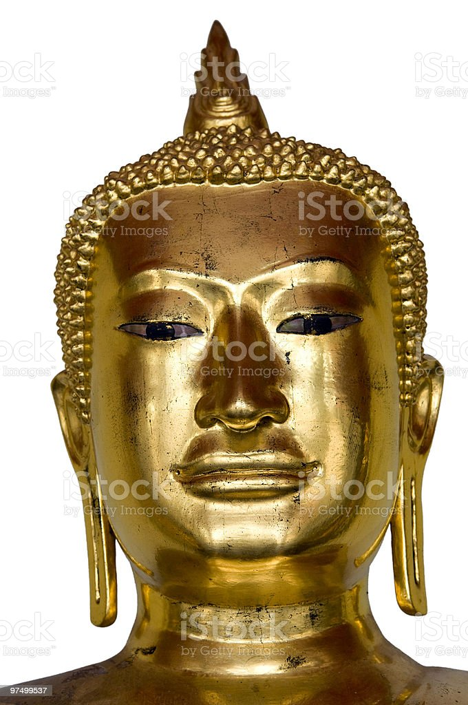 Gilded head of Buddha royalty-free stock photo