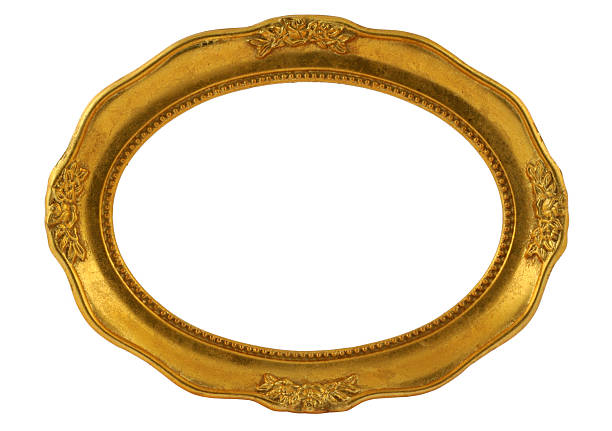 gilded oval frame - ellipse stock photos and pictures