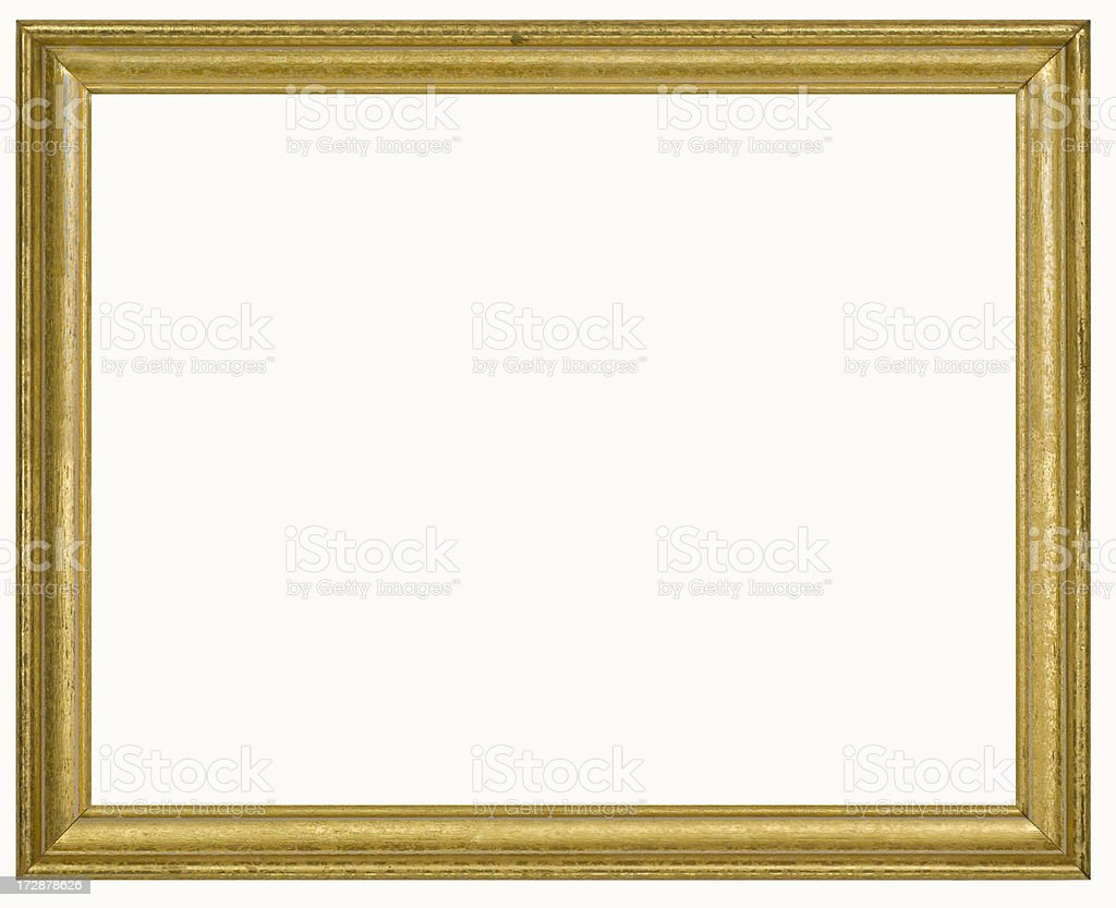 Gilded Rectangular Picture Frame Isolated w/Clipping Path royalty-free stock photo