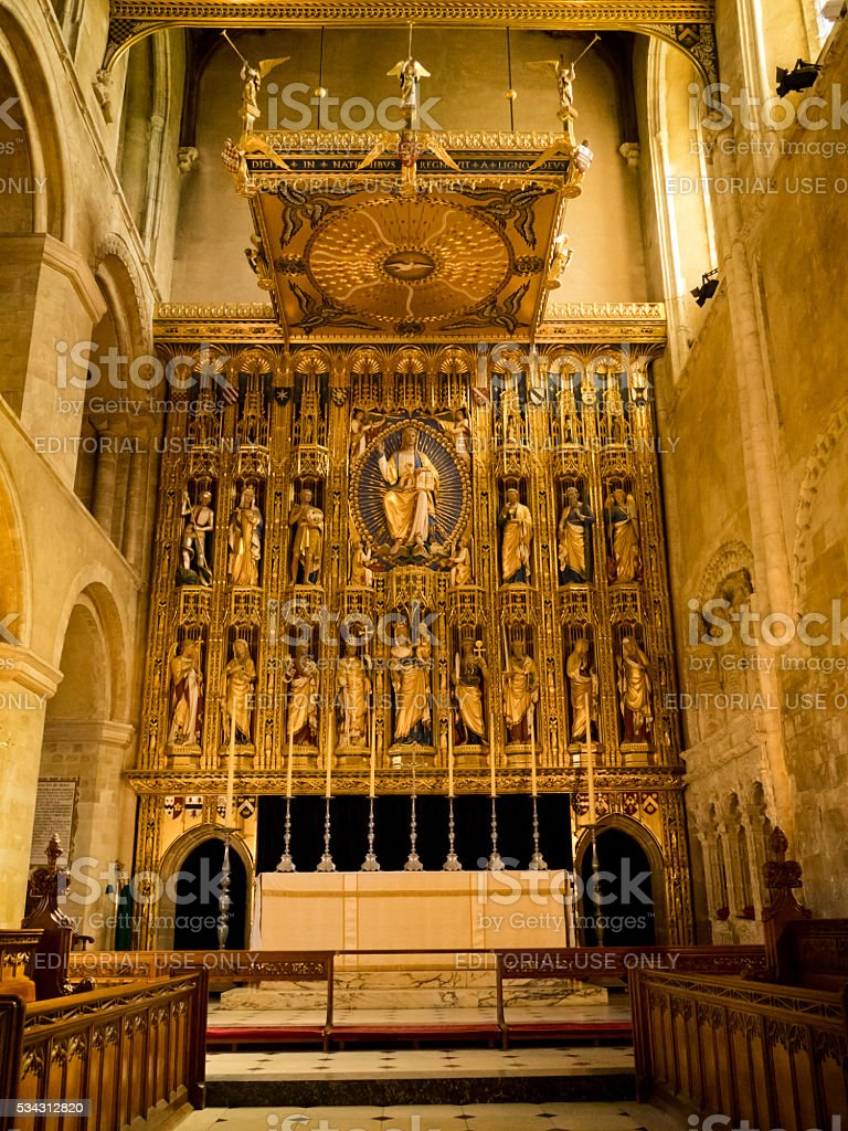Gilded reredos in Wymondham Abbey stock photo