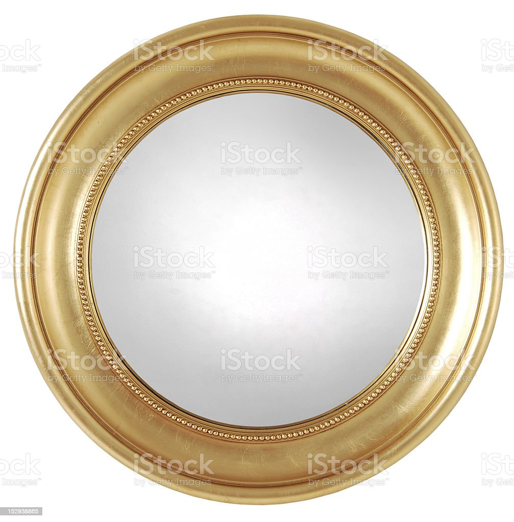 gilded round mirror frame stock photo