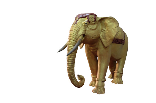 Gilded sculpture of an Indian elephant. Isolated White background.