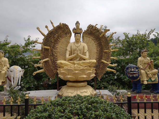 Gilded statue at Ten Thousand Buddhas temple, Hong Kong stock photo
