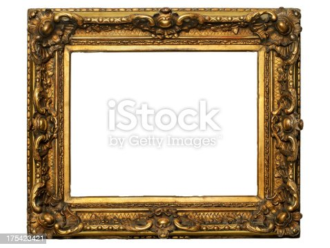 Precious golden frame isolated on white. Clipping path included (inner edges).Related images: