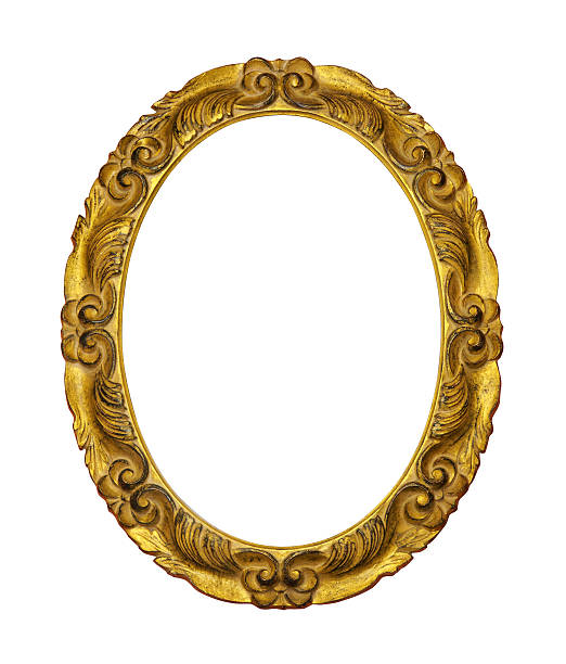 gilded wooden frame - ellipse stock photos and pictures