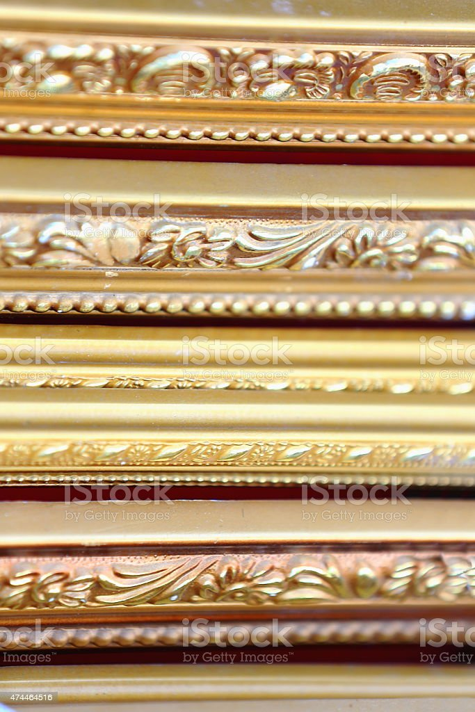 Gilded-wooden painting frames. Lhasa-Tibet. 1441 stock photo