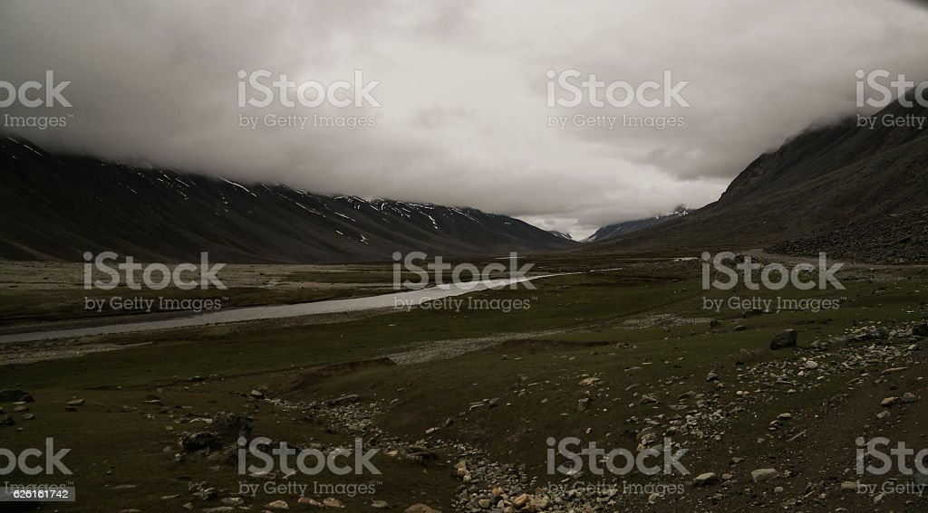 Gilgit River and Khalti lake, Pakistan stock photo