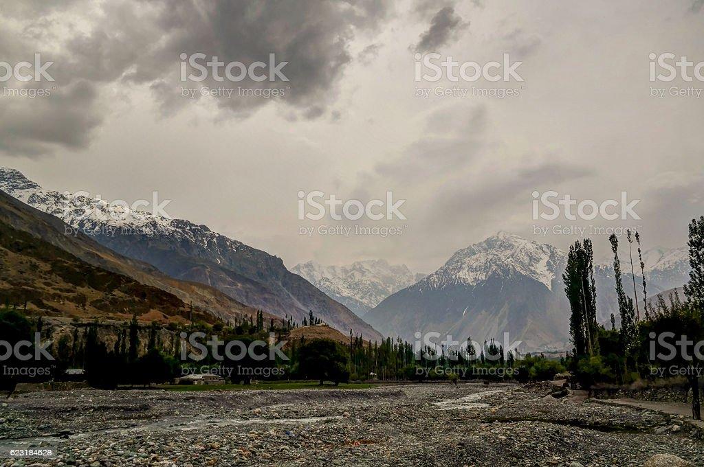 Gilgit River near Shandur pass, Pakistan stock photo