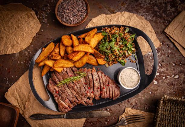 Gilled beef steak stock photo