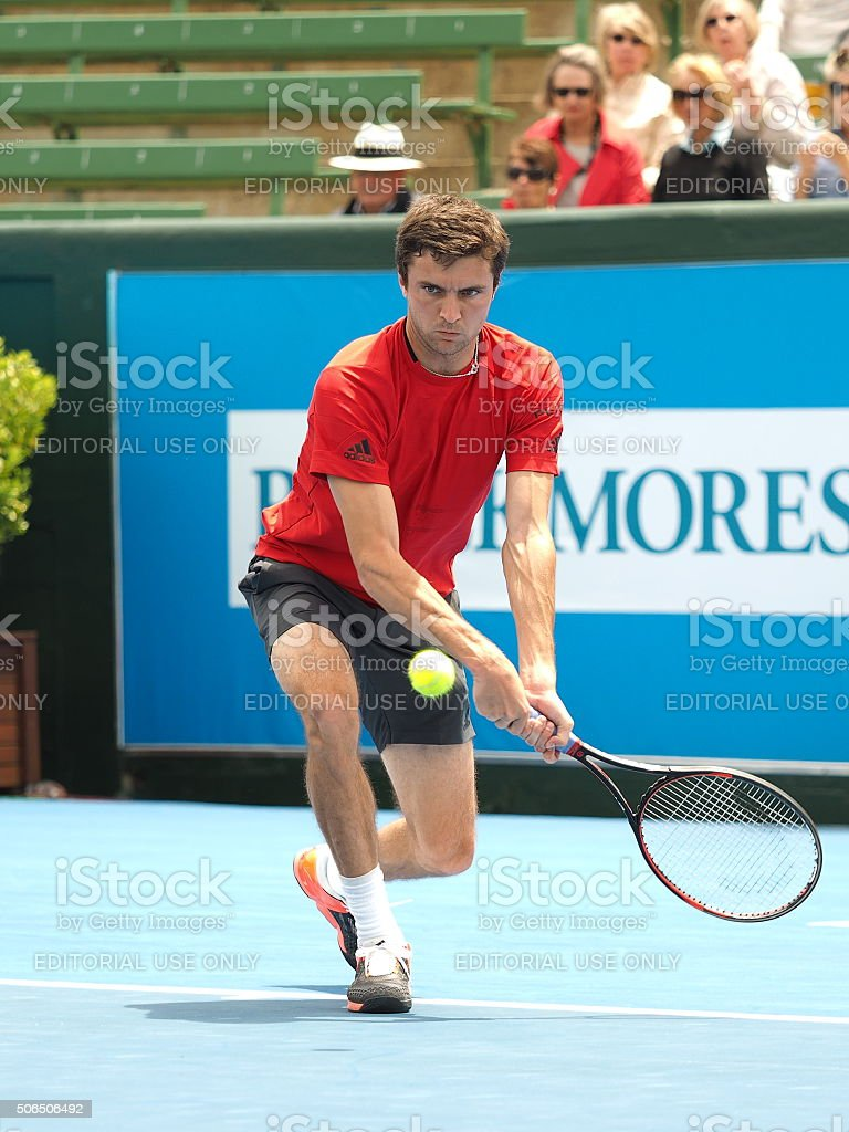 Gilles Simon of France backhand stock photo