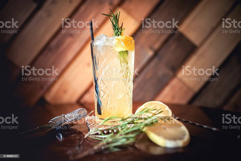 gin and tonic cocktail, alcoholic drink for hot summer days stock photo