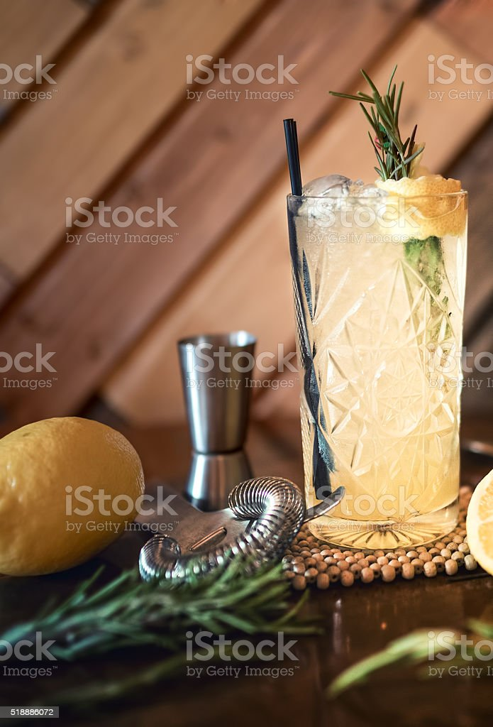 gin and tonic cocktail drink in pub, restaurant or nightclub. stock photo