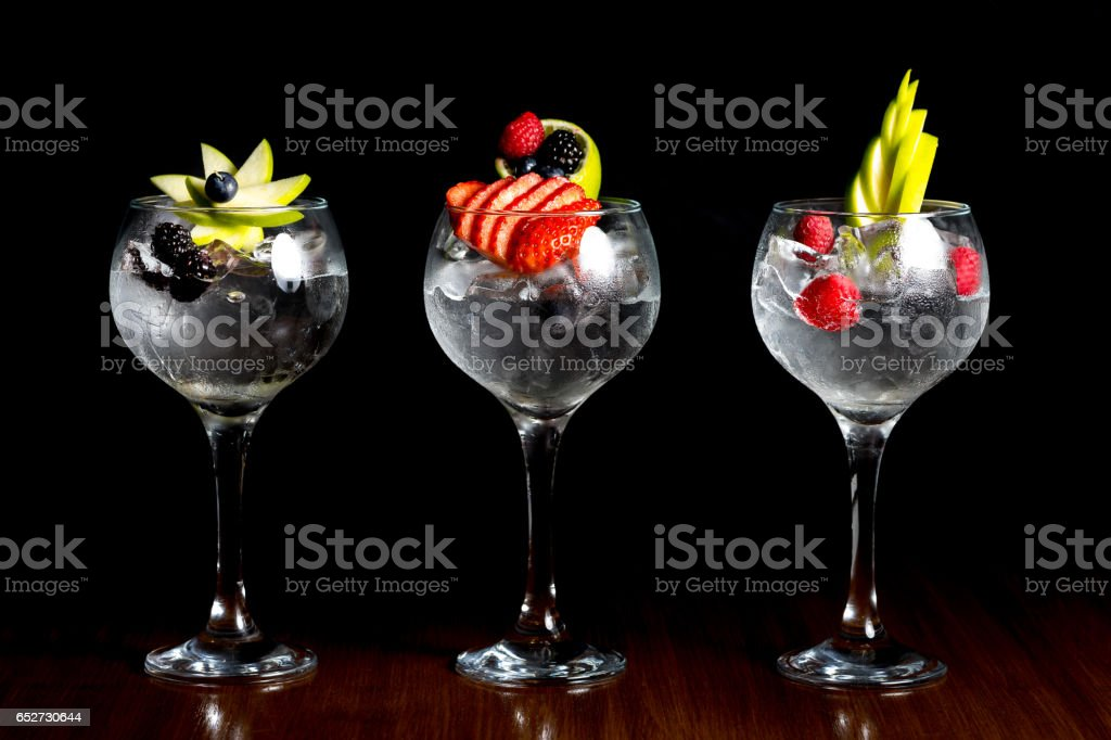 gin and tonic cocktail drink stock photo