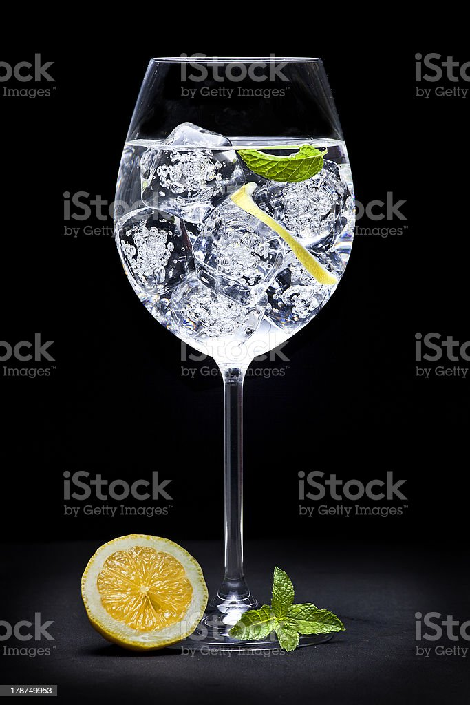 A Gin and tonic cocktail with orange and mint stock photo