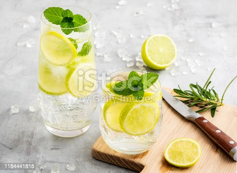 Gin and tonic with lemon and mint and a knife