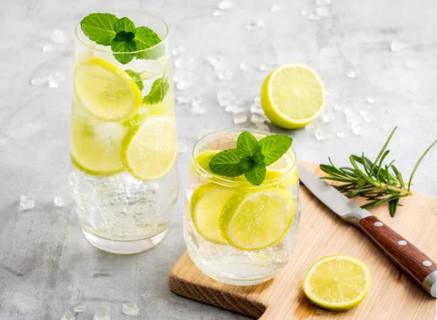 gin en tonic cocktails met citroen en mint - gin tonic stockfoto's en -beelden