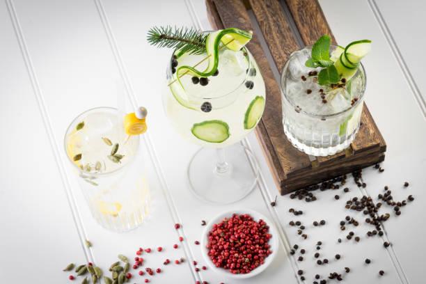 Gin and tonic boisson cocktail élégant d'artisanat - Photo