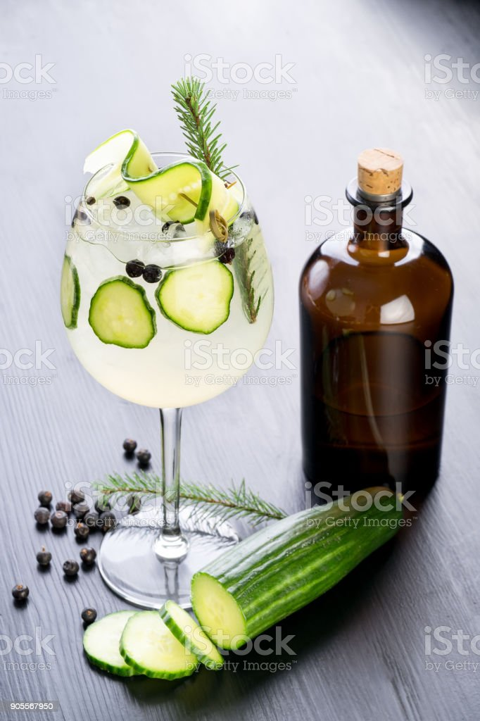 gin and tonic craft stylish cocktail drink stock photo