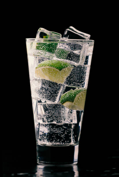 Gin and tonic. Nice cocktail on a black background stock photo