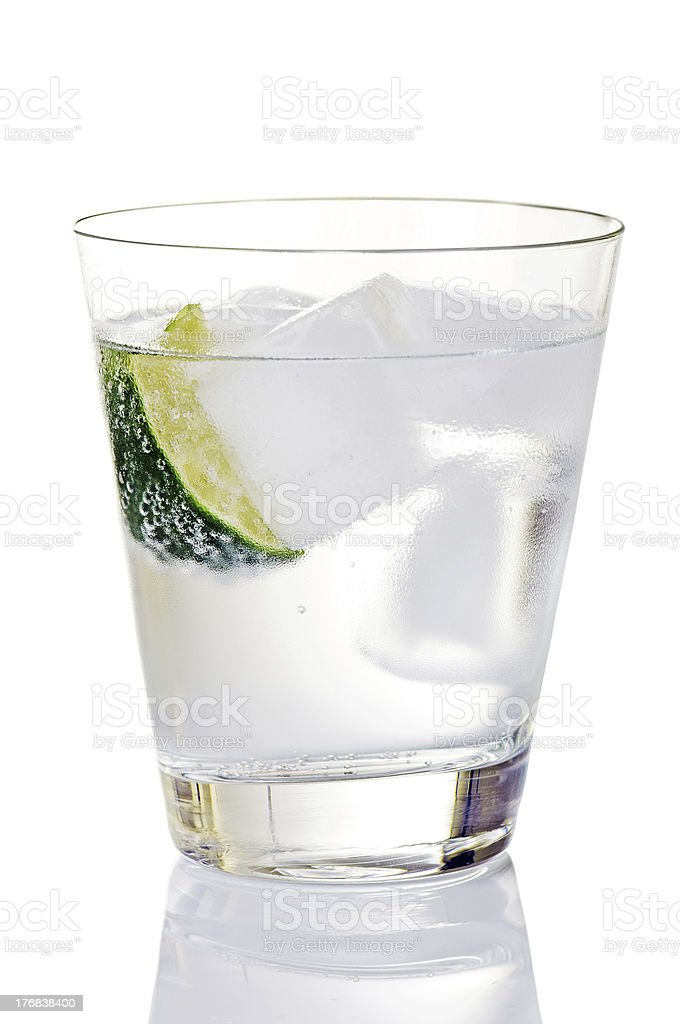 Gin And Tonic On Ice With Lime Wedge royalty-free stock photo
