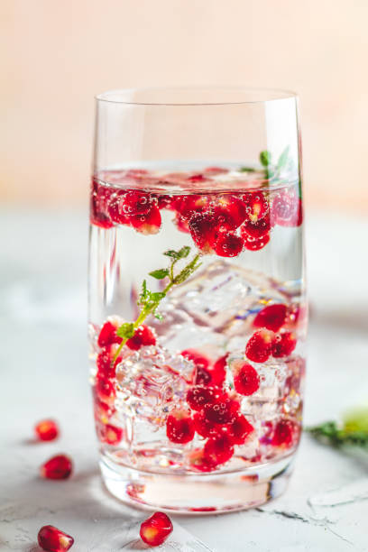 Gin and tonic pomegranate cocktail or detox water with ice stock photo