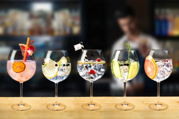 gin and tonic selection garnish Gin and tonic mixed cocktail drinks various selection garnish bartender bar background fashion trendy garnish stock pictures, royalty-free photos & images
