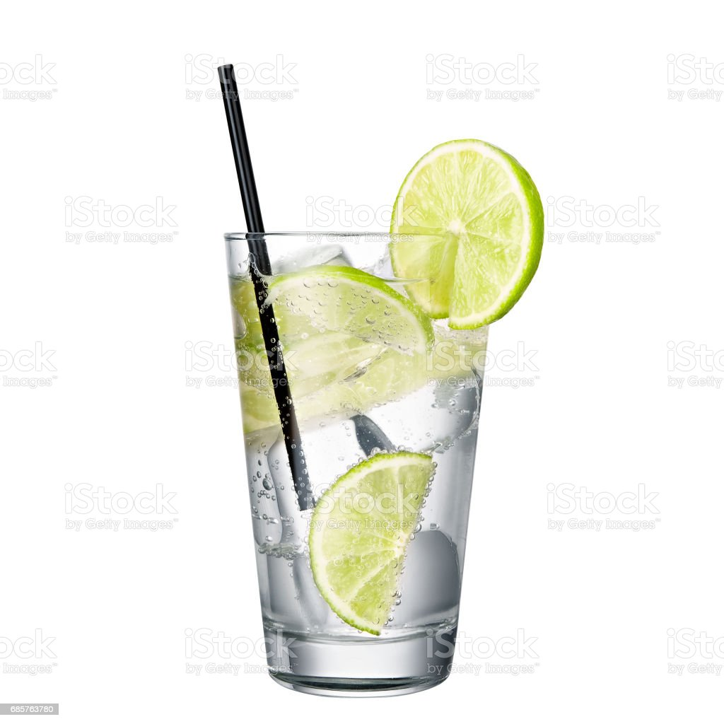 gin and tonic with lime isolated on white background stock photo