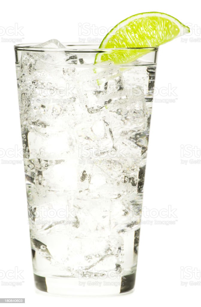 Gin and Vodka Tonic Lemonade Isolated on White Background stock photo