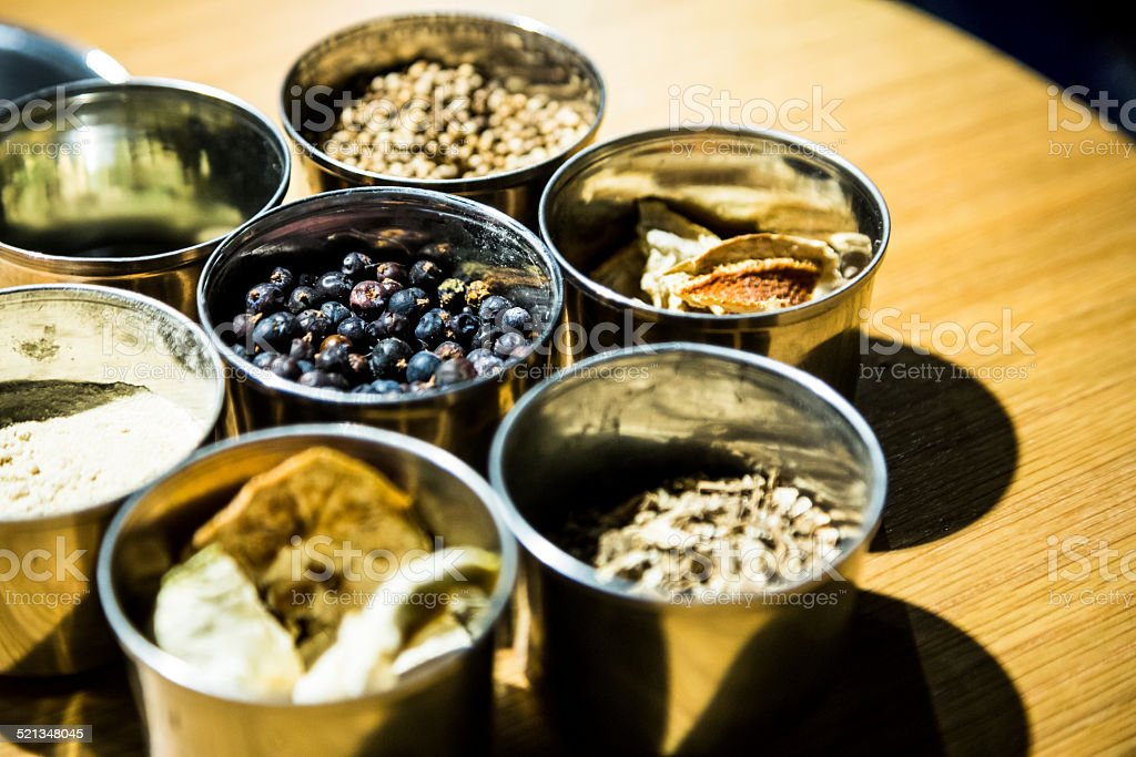 Gin Botanicals Some of the key ingredients for gin distillation. Alcohol - Drink Stock Photo