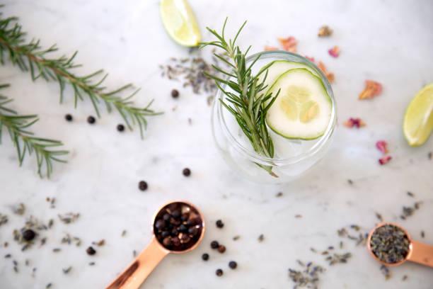 gin cocktail with garnish - przybranie zdjęcia i obrazy z banku zdjęć