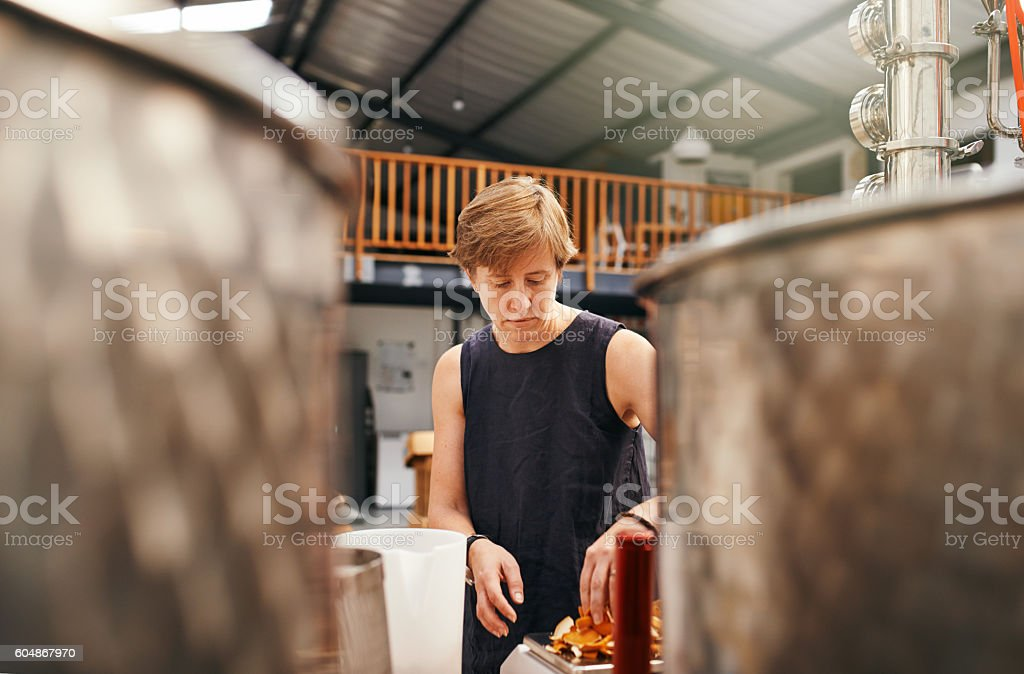 Gin distillation with subtle hints of citrus stock photo