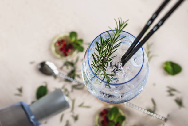 Gin Soda with a Rosemary stock photo