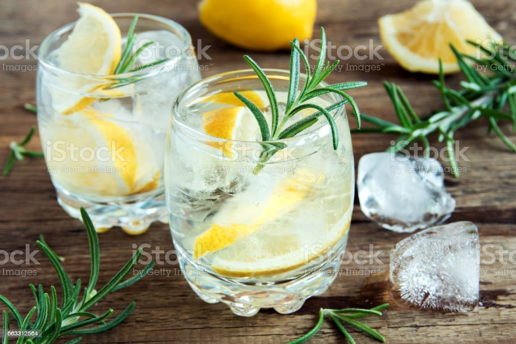 gin tonic cocktail stock photo