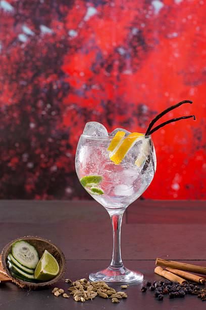 gin tonic cocktail mit gewürzen in red grunge hintergrund - zimt gurken stock-fotos und bilder