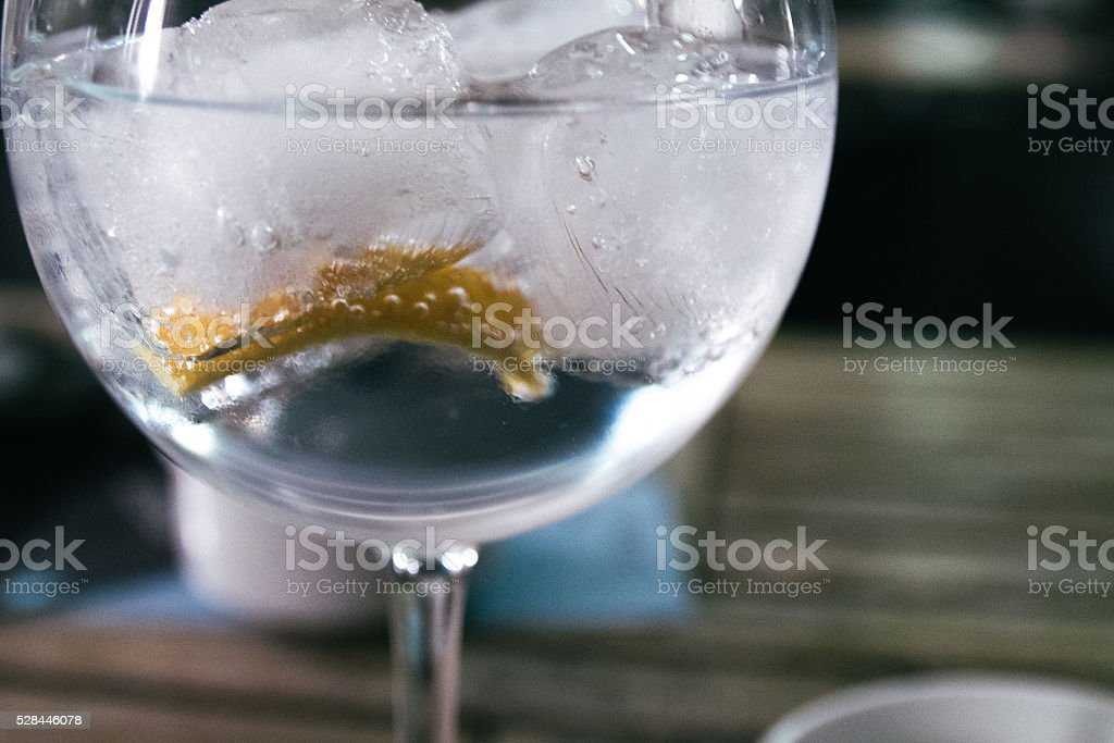 Gin Tonic in a bar stock photo