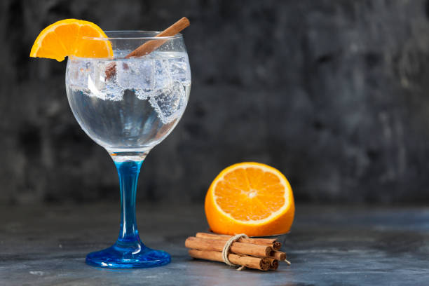 gin tonic op blauw glas met sinaasappel en kaneel - gin tonic stockfoto's en -beelden