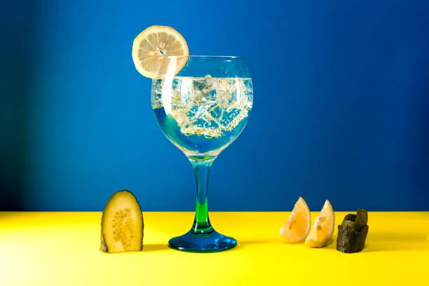 gin tonic auf blau - zimt gurken stock-fotos und bilder