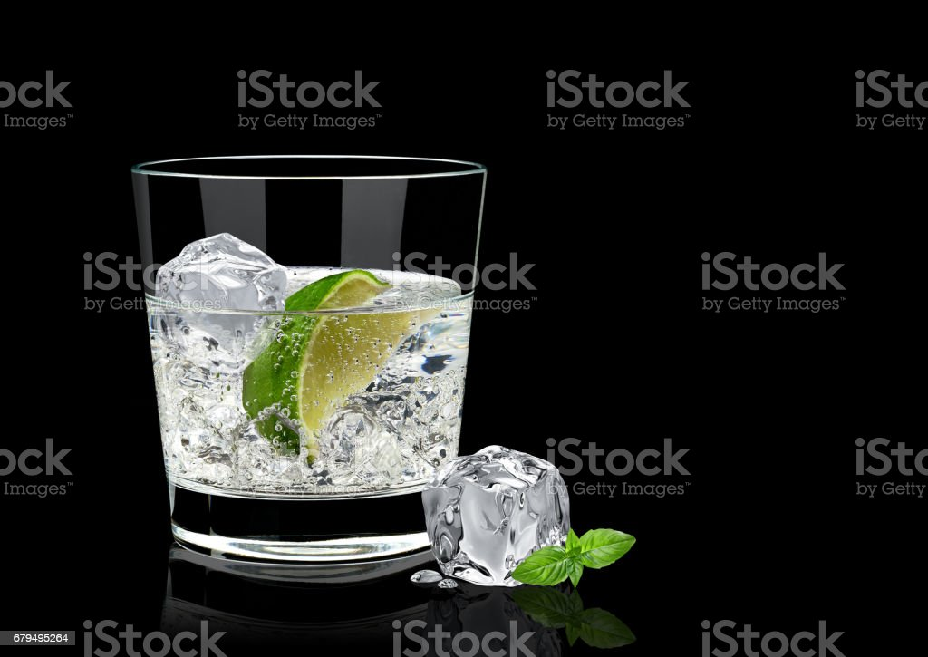 Gin tonic or vodka on black background stock photo