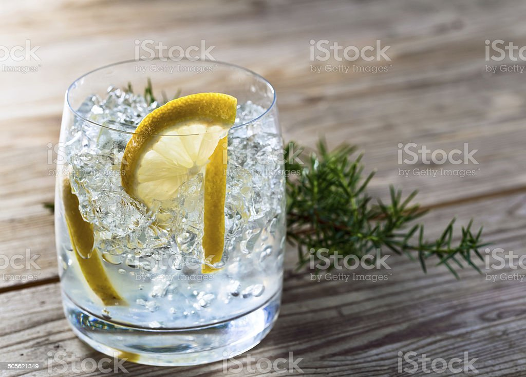 Gin with lemon and ice stock photo
