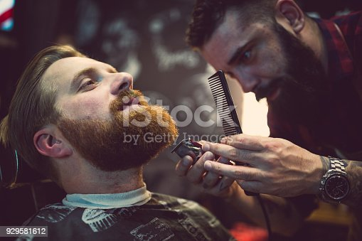 istock Ginger, bearded guy at the barber shop 929581612