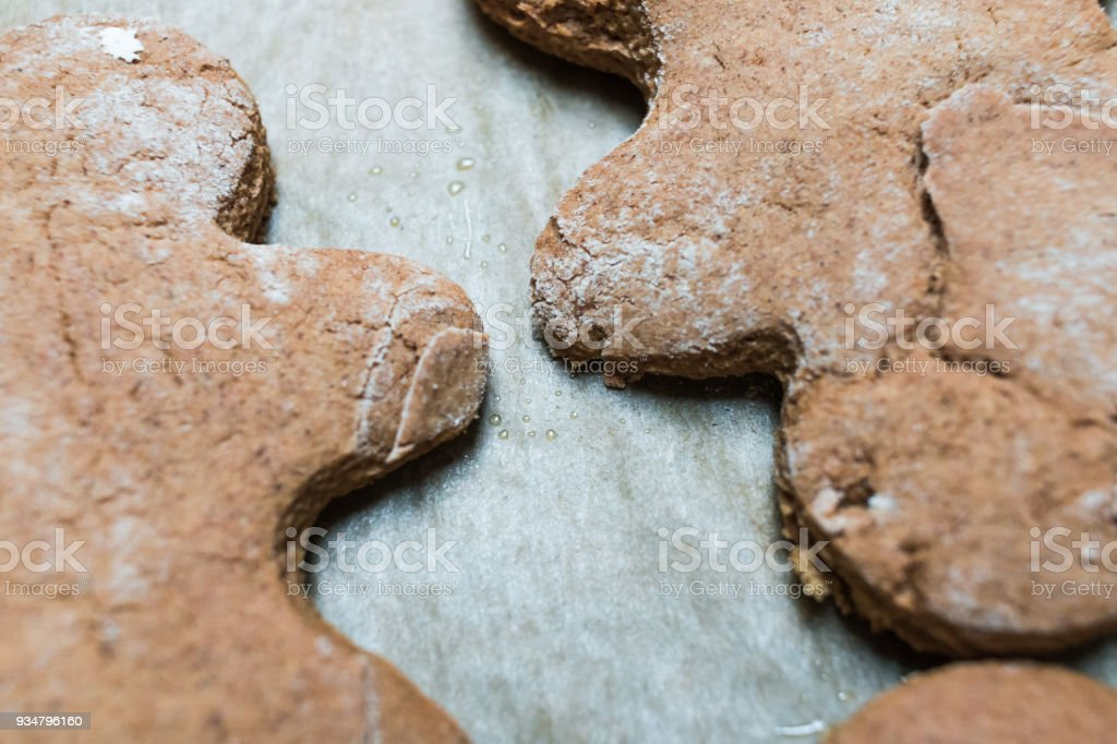 Ginger bread men home cooked stock photo