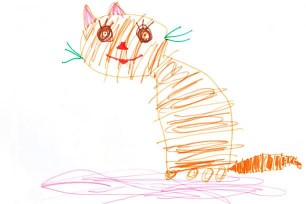 ginger cat  - katze zeichnen stock-fotos und bilder