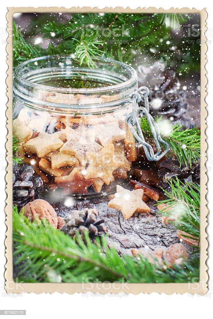 Ginger Christmas Cookies Stars in Jar photo libre de droits