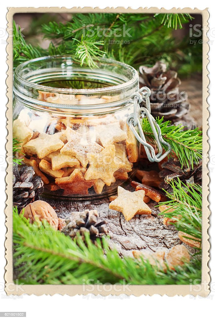 Ginger Christmas Cookies Stars in Jar Retro Frame photo libre de droits