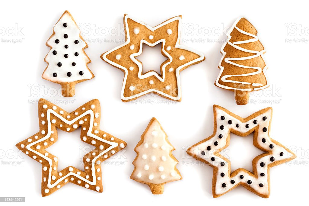 Ginger Christmas cookies with white and black icing stock photo