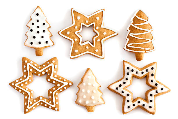 ginger christmas cookies with white and black icing - pepparkaka bildbanksfoton och bilder