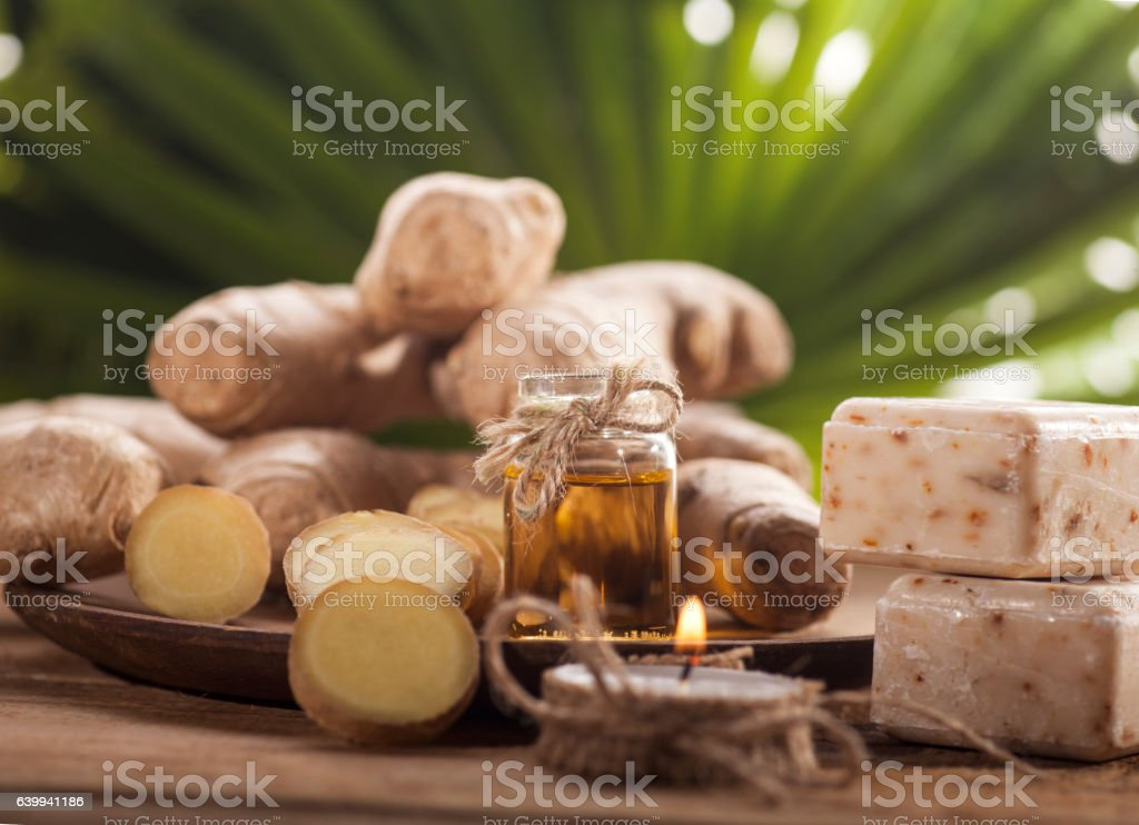Ginger Essential oil royalty-free stock photo
