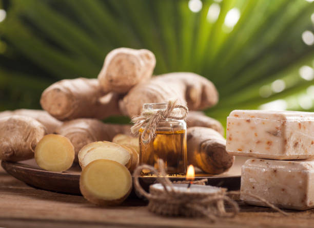 Ginger Essential oil stock photo