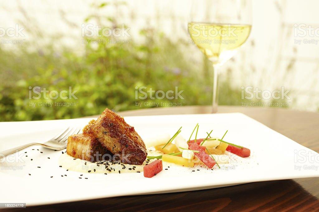 Ginger glazed pork belly royalty-free stock photo