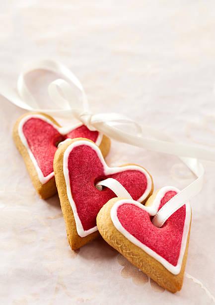 Ginger Herz-Form-cookies zum Valentinstag. – Foto